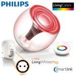 Een Philips LivingColors transparante LED-lamp met LivingWhites adapter met 50% korting