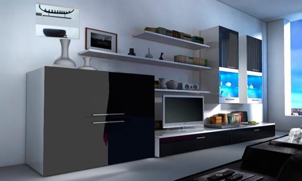 4 verschillende wandkasten tv meubels sets met 50 for Muebles de salon con luz led