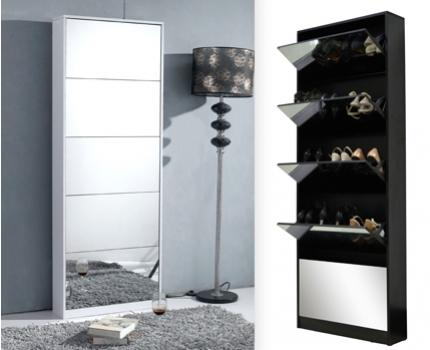 Stijlvolle schoenenkast met spiegel voor nog geen 100 reclameblog - Spiegel voor ingang ...