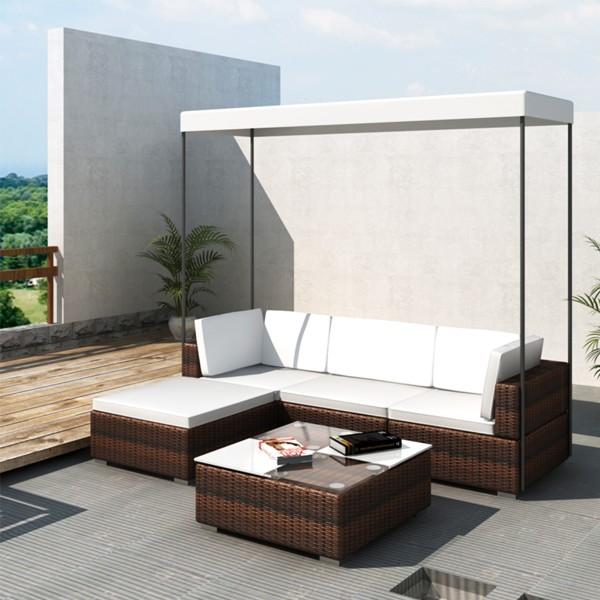 amalfi wicker loungeset met dak